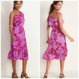 OLD NAVY One Shoulder Midi Dress Purple Red Floral
